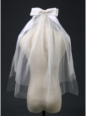Two-tier Cut Edge Elbow Bridal Veils With Ribbon