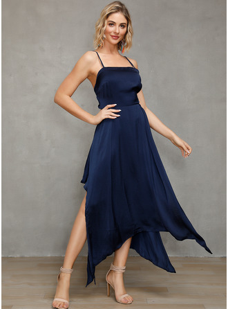 Polyester With Solid Asymmetrical Dress