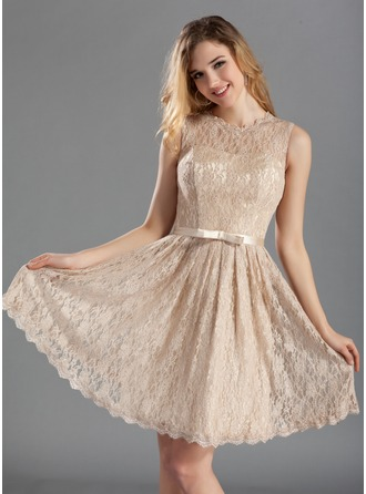 Lace Knee-length Jewel Neckline Bridesmaid Dress With A Charmeuse Bow