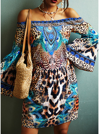 Leopard Animal Print Shift Off the Shoulder Long Sleeves Flare Sleeve Midi Casual Vacation Tunic Dresses