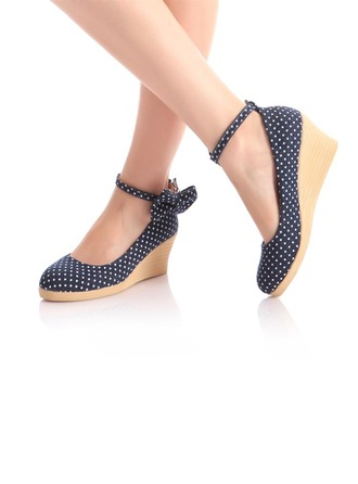 Women's Cloth Wedge Heel Closed Toe Wedges With Bowknot shoes