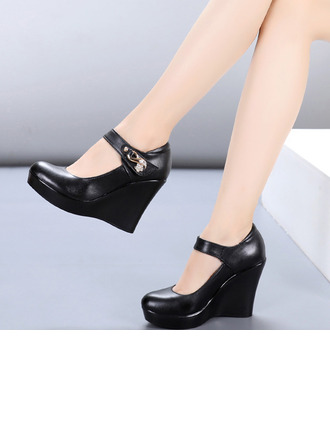 Women's Real Leather Heels Character Shoes Dance Shoes