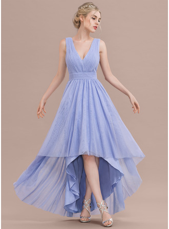 V-neck Asymmetrical Tulle Prom Dresses With Ruffle