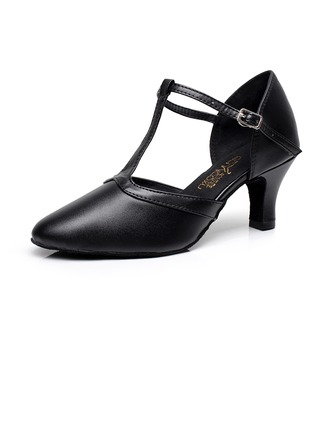 Women's Real Leather Heels Modern With T-Strap Buckle Dance Shoes