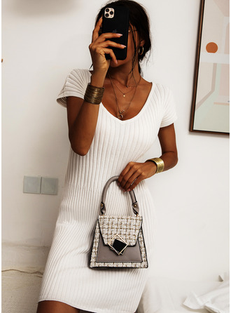 Off the Shoulder Short Sleeves Midi Dresses