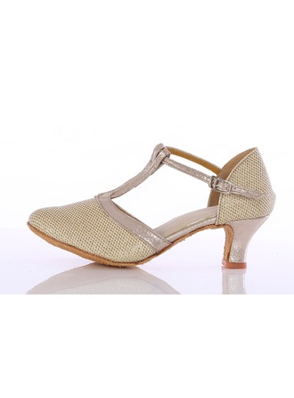 Women's Leatherette Sparkling Glitter Heels Latin Ballroom Party Tango With T-Strap Dance Shoes
