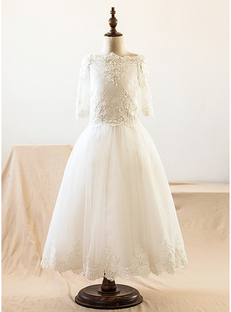 Floor-length Flower Girl Dress - Satin Tulle Lace Long Sleeves Bateau With Lace Beading Appliques