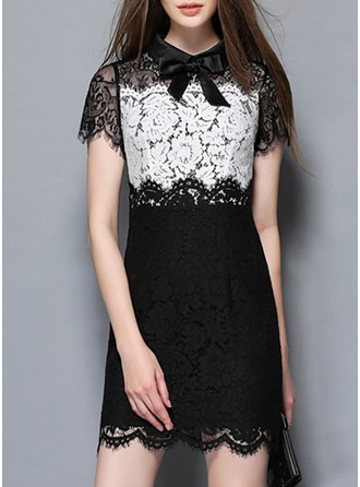 Lace With Lace/Bowknot/Hollow/Pierced/See-through Look Above Knee Dress