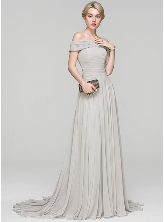 A-Line/Princess Off-the-Shoulder Court Train Chiffon Evening Dress With Ruffle