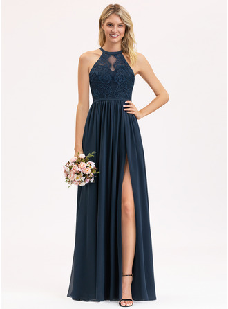 Scoop Neck Floor-Length Chiffon Lace Bridesmaid Dress With Split Front