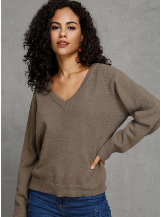 Solid Cotton Blends Polyester V-neck Pullovers Sweaters