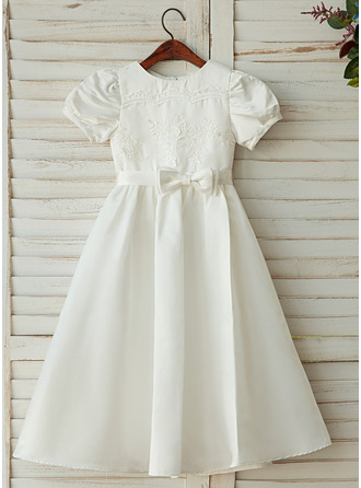 Ankle-length Flower Girl Dress - Satin Lace Short Sleeves Scoop Neck