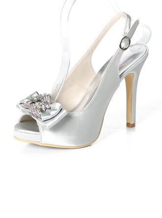 Women's Silk Like Satin Stiletto Heel Peep Toe Platform Pumps Sandals Slingbacks