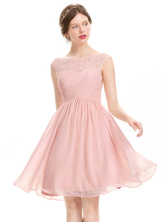 Scoop Neck Knee-Length Chiffon Prom Dresses With Ruffle Lace Beading Sequins
