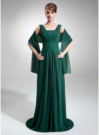 Empire Square Neckline Sweep Train Chiffon Mother of the Bride Dress With Ruffle Beading Sequins