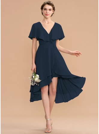 V-neck Asymmetrical Chiffon Bridesmaid Dress With Cascading Ruffles