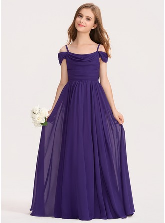 A-Line Off-the-Shoulder Floor-Length Chiffon Junior Bridesmaid Dress With Ruffle