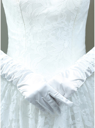 Cotton Elbow Length Bridal Gloves With Embroidery
