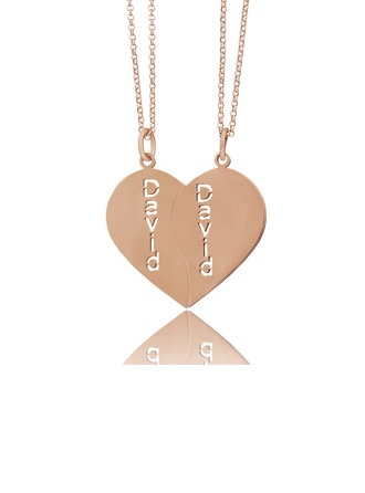 Custom 18k Rose Gold Plated Silver Heart Couple Two Name Necklace