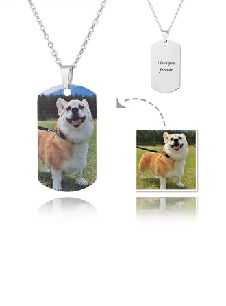Custom Silver Tag Color Printing Photo Necklace - Mother's Day Gifts