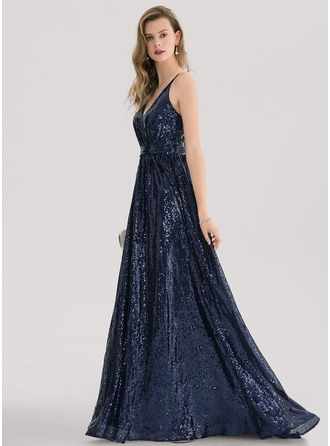 V-neck Sweep Train Sequined Prom Dresses With Lace Sequins