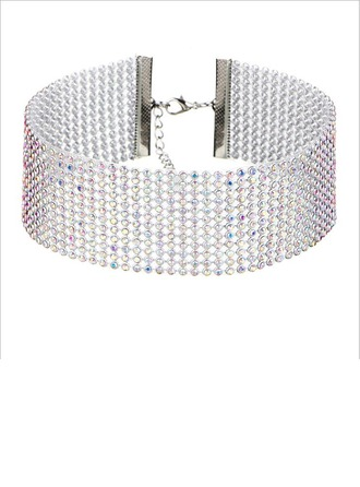 Simple Alliage Strass avec Strass Dames Collier de mode