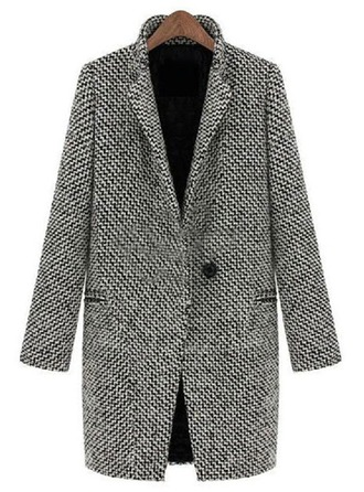 Spandex Long Sleeves Houndstooth Wool Coats ()