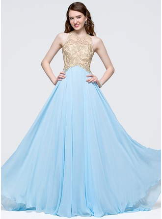 A-Line/Princess Scoop Neck Sweep Train Chiffon Prom Dress