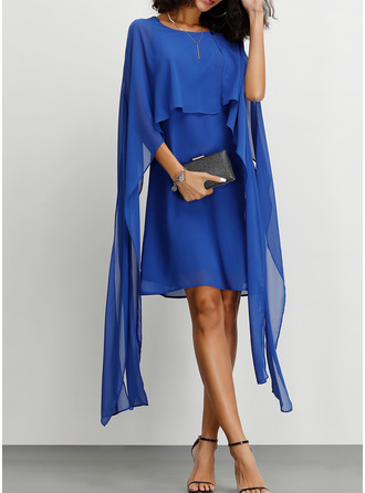 Chiffon With Solid Above Knee Dress
