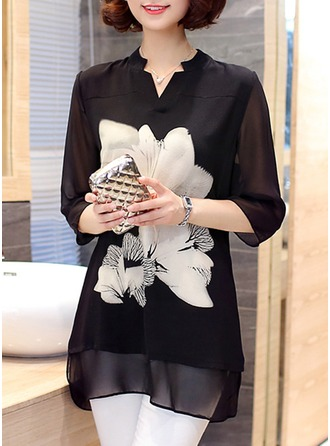 Floral 3/4 Sleeves Chiffon V Neck Casual Blouses Blouses