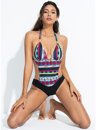 Elegant Print Spandex One-piece Swimsuit