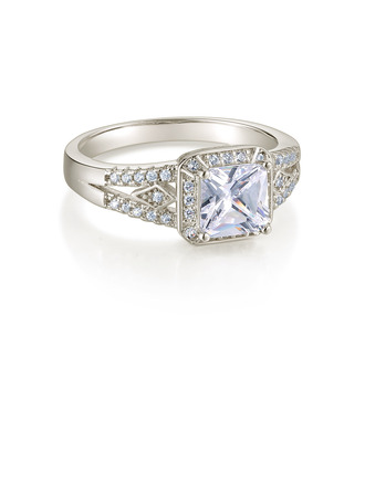 Sterling Silver Cubic Zirconia Exquisite Princess Cut Engagement Rings Promise Rings -