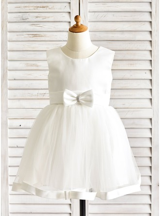 A-Line/Princess Knee-length Flower Girl Dress - Satin/Tulle Sleeveless Scoop Neck With Sash/Bow(s)