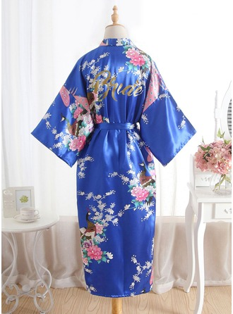 Silk Bride Bridesmaid Floral Robes Glitter Print Robes