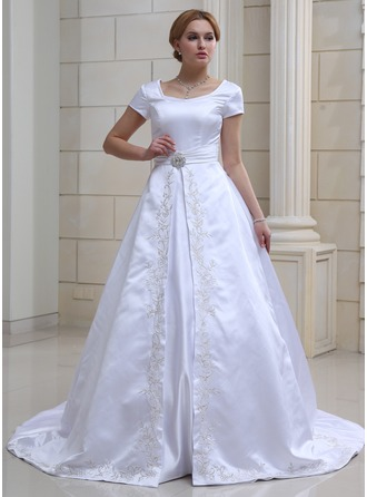 Ball-Gown V-neck Chapel Train Satin Wedding Dress With Embroidered Crystal Brooch