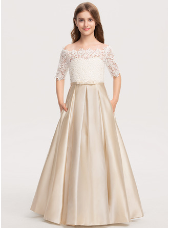 Off-the-Shoulder Floor-Length Satin Lace Junior Bridesmaid Dress With Bow(s) Pockets