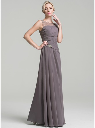 Scoop Neck Floor-Length Chiffon Mother of the Bride Dress With Ruffle Beading