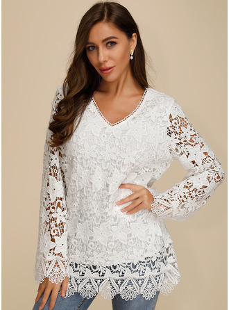 Long Sleeves Cotton V Neck Blouses