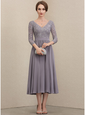 V-neck Tea-Length Chiffon Lace Mother of the Bride Dress With Beading Sequins