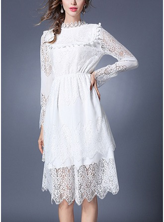 Lace With Lace/Hollow/Crumple/Ruffles Knee Length Dress