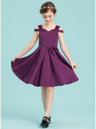Sweetheart Knee-Length Satin Junior Bridesmaid Dress