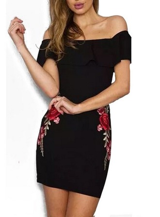 Cotton With Embroidery/Ruffles Midi Dress
