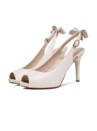 Femmes Similicuir Talon stiletto À bout ouvert Escarpins Escarpins Beach Wedding Shoes avec Bowknot