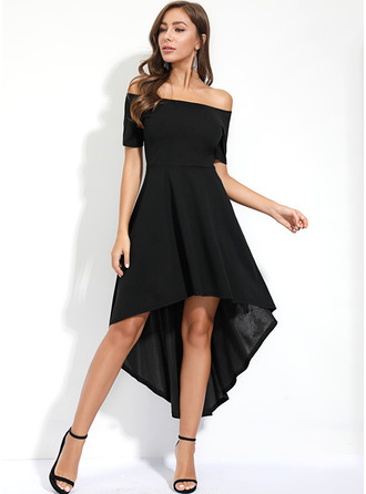 Off the Shoulder Short Sleeves Asymmetrical Dresses