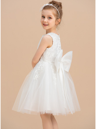 Knee-length Flower Girl Dress - Tulle Lace Sleeveless Scoop Neck With Lace Bow(s)
