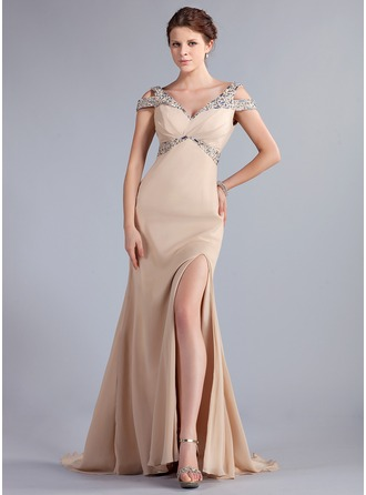 Trumpet/Mermaid Off-the-Shoulder Sweep Train Chiffon Prom Dress With Beading Split Front