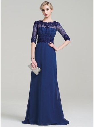 A-Line/Princess Scoop Neck Sweep Train Chiffon Mother of the Bride Dress With Beading Appliques Lace Sequins