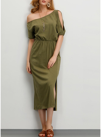 Cotton With Solid/Slit Midi Dress