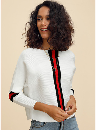 Striped Pulls Tricot à Câble Gros tricot Polyester Col rond Pull-overs Pulls