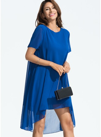 Chiffon With Resin solid color Asymmetrical Dress